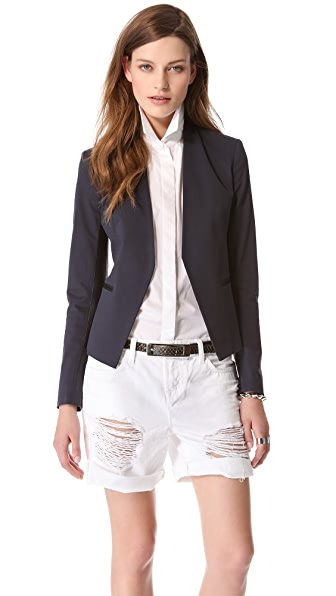Theory Lanai Leather Combo Blazer