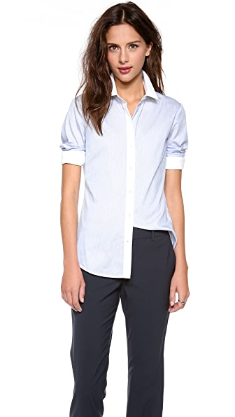 Theory Ress Striped Stretch Blouse