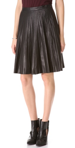 Theory Alcine L Prudential Leather Skirt