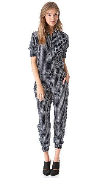 Theory Daranda Cross Grid Jumpsuit