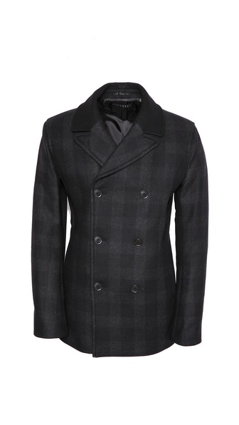 Theory Dagmar Plaid Pea Coat