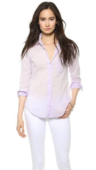 Theory Cotton Lawn Perfect Button Down - Lilac at Shopbop / East Dane