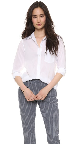 Theory Cotton Lawn Perfect Button Down - White at Shopbop / East Dane