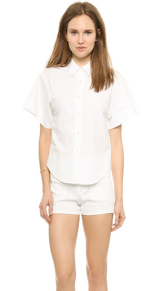 Theory Light Poplin Cuffed Button Down - White at Shopbop / East Dane