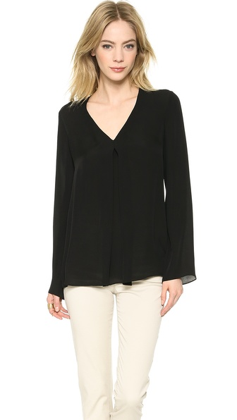 Theory Double Georgette Trent Blouse - Black at Shopbop / East Dane