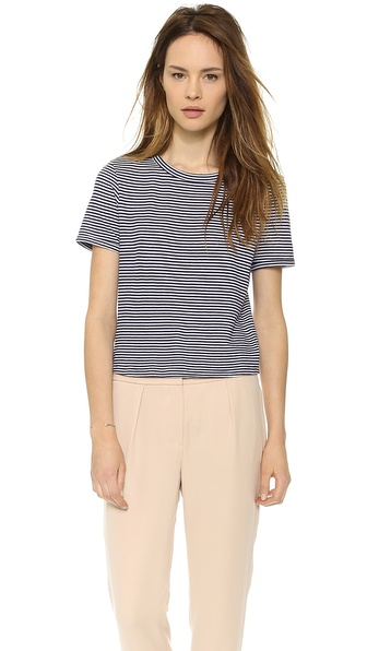 Theory Kalix Cropped Crewneck - Denim Blue/White at Shopbop / East Dane