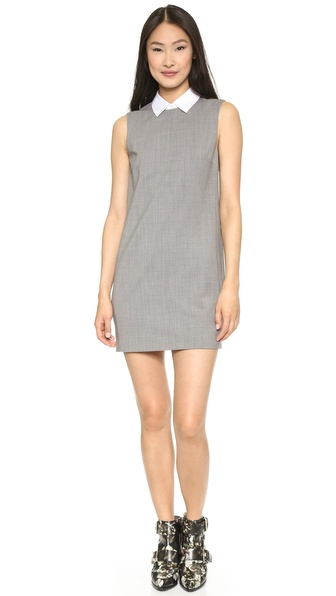 Shop Theory online and buy Theory Savile Row Audrice Dress - Light Heather - This Theory dress has an optional fold over collar, giving smart contrast to the simple shift. Buttons close the back. Sleeveless. Lined. Fabric: Lightweight wool suiting. Shell: 88% virgin wool/10% polyamide/2% elastane. Lining: 94% polyester/6% polyurethane. Dry clean. Imported, Vietnam. Measurements Length: 33in / 84cm, from shoulder Measurements from size 2. Available sizes: 2,4,6,8,10,12