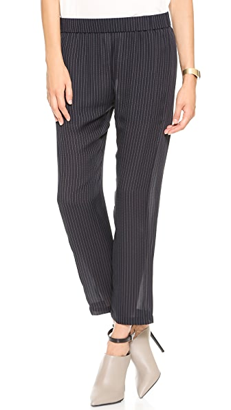 Theory Pinstripe Silk Korene Pants