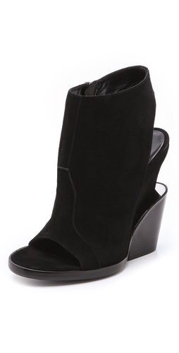 Theyskens Theory Apro Suede Booties with Metal Detail