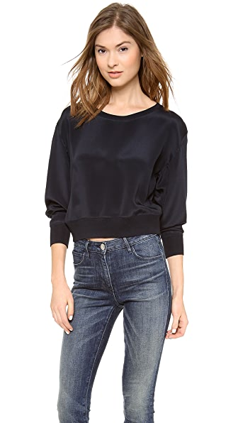 Theyskens' Theory Felect Bason Cropped Silk Sweatshirt