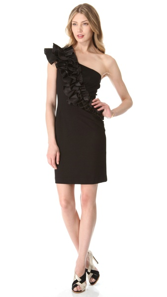 Thread One Shoulder Dress with Ruffle