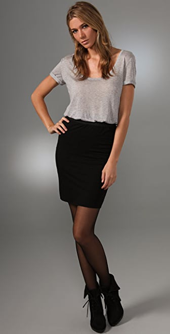 Three Dots Rolled Up Scoop Neck Dress