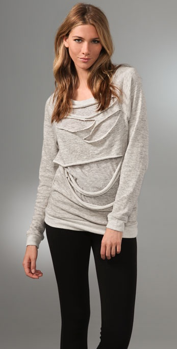 Three Dots Long Sleeve Sweatshirt with Cutouts