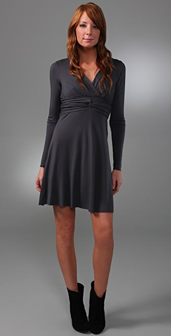 Three Dots Deep V Neck Dress