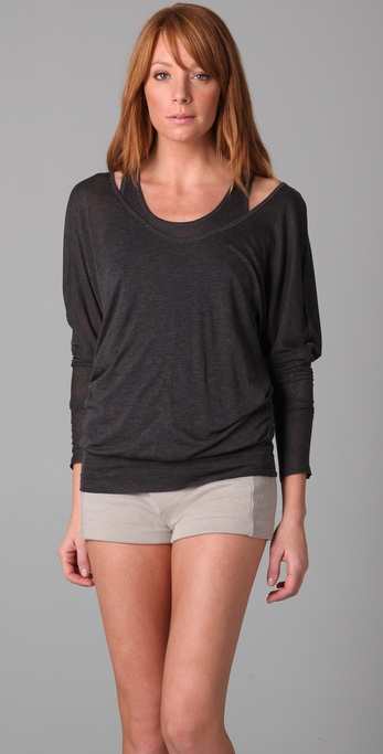 Three Dots Melange Long Sleeve Top