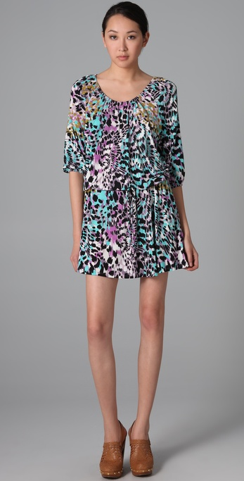 Three Dots Kaleidoscope Print Scoop Neck Dress
