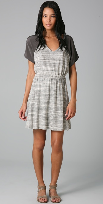 Three Dots Silk Panel V Neck Dress