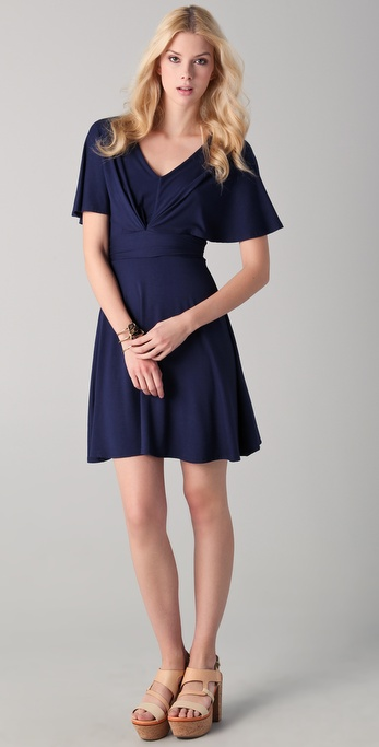 Three Dots Draped Sleeve V Neck Dress