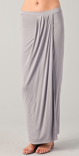 Three Dots Draped Pleated Skirt