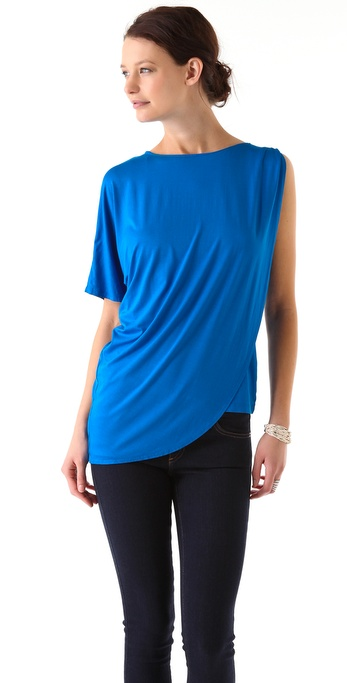 Three Dots Asymmetrical Draped Top