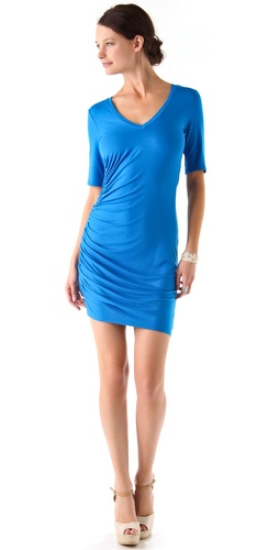 Three Dots Shirred V Neck Dress
