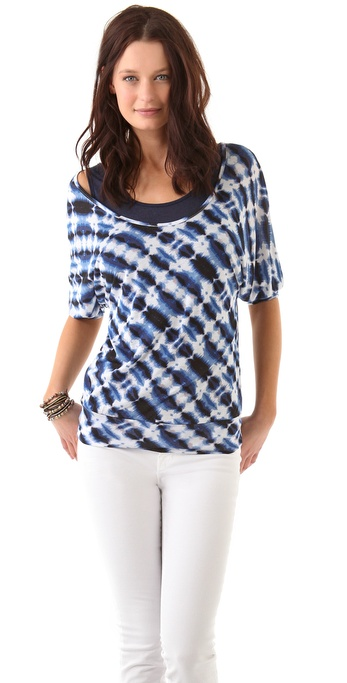 Three Dots Double Layer Dolman Top