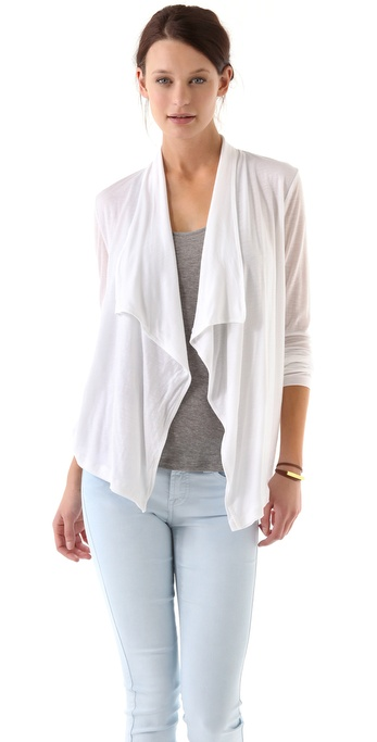 Three Dots Draped Front Cardigan