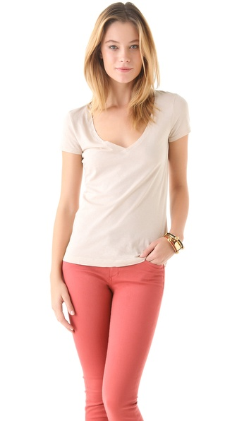 Three Dots Deep V Neck Short Sleeve Tee