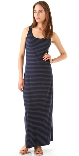 Three Dots Pinstriped Maxi Tank Dress