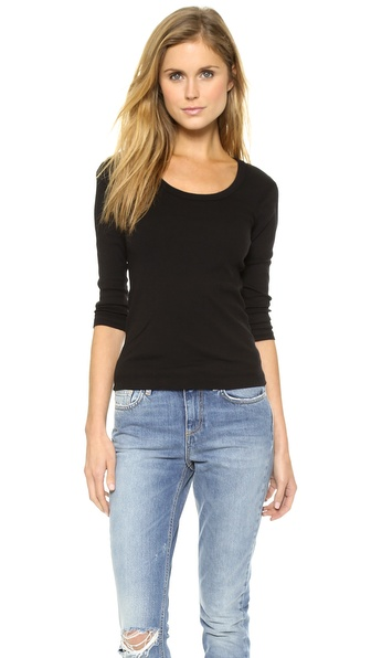 Three Dots Scoop Neck Tee