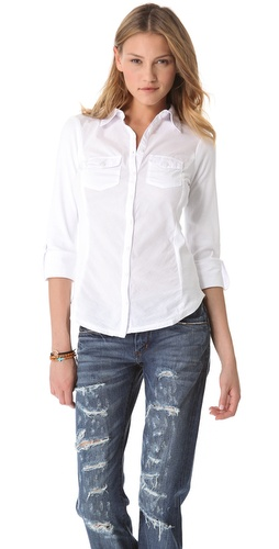 Three Dots Button Up Combo Shirt at Shopbop.com