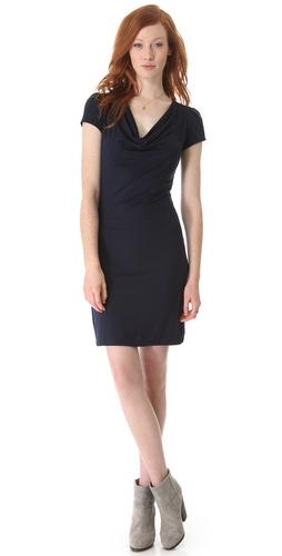 Three Dots Pleated Sleeve Cowl Dress