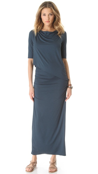 Three Dots Draped Overlay Maxi Dress