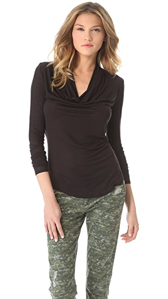 Three Dots Cowl Shirttail Top