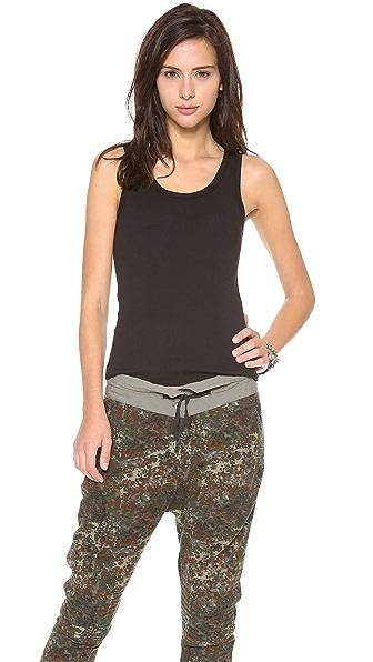 Three Dots Flat Knit Tank - Black