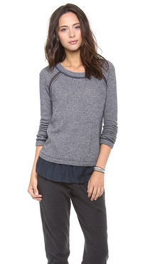 Three Dots Sweater with Chiffon