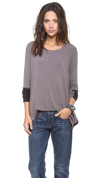 Three Dots Ultrasuede Trim Top