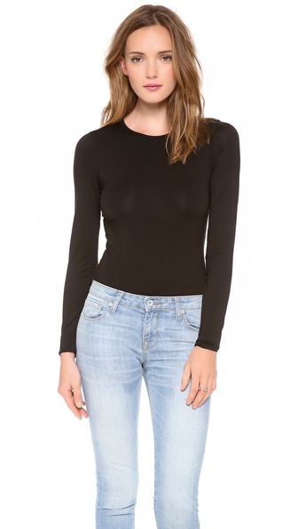Three Dots Long Sleeve Bodysuit with Crew Neck