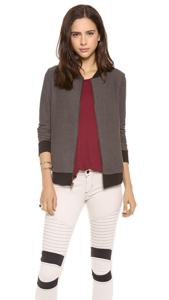 Three Dots Long Sleeve Bomber Jacket with Pockets