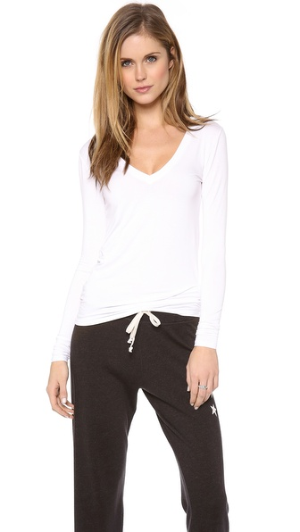 Three Dots Long Sleeve V Neck Tee