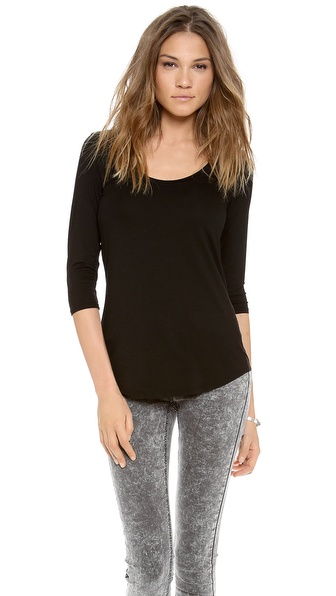 Three Dots 3/4 Sleeve Relaxed Tee