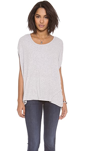 Three Dots Scoop Neck Oversized Top