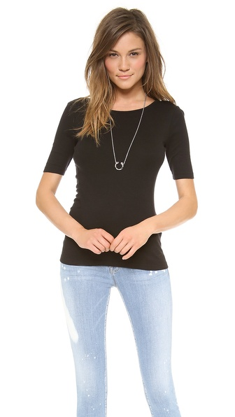 Three Dots Short Sleeve Boat Neck with V Back