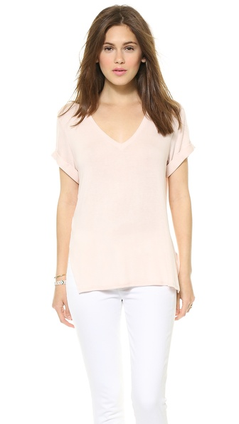 Three Dots Drapey V Neck Tee