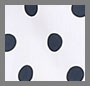 White & Navy Dot/Navy Trim