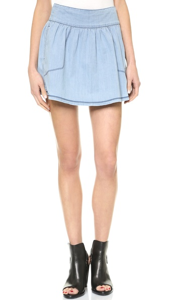3x1 Ave A Chambray Denim Miniskirt