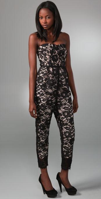 Tibi Strapless Lace Jumpsuit