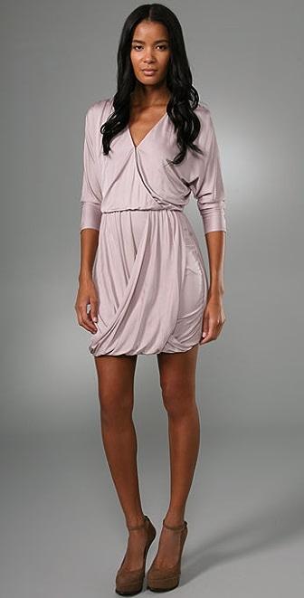 Tibi V Neck Draped Dress