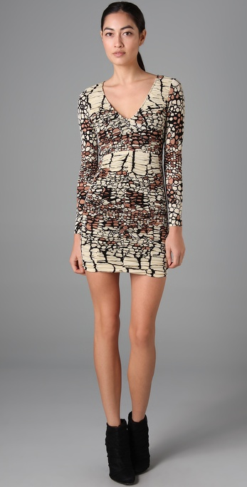 Tibi Ruched Long Sleeve Dress