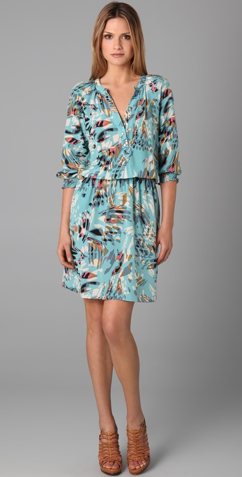 Tibi Long Sleeve Print Dress